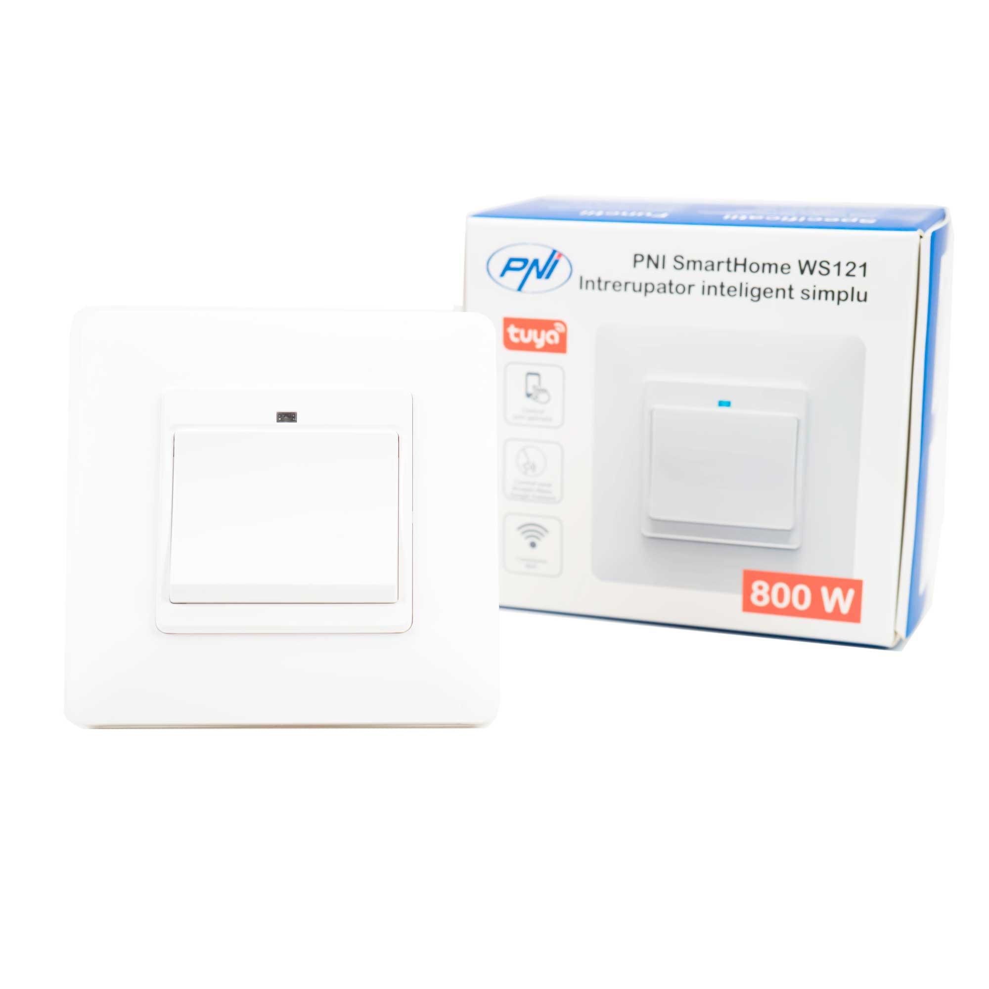 Fotografie Intrerupator inteligent simplu PNI SmartHome WS121 pentru control lumini prin internet cu App Tuya Smart, compatibil Amazon Alexa si Google Home