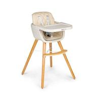 EcoToys 2-az-1-ben etetőszék gyerekeknek és csecsemőknek, biztonsági övvel és fa lábakkal, bézs szín