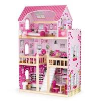 EcoToys játék babaház gyerekeknek, fából, 3 emelettel, 5 szobával, LED világítással és 17 bútorral, rózsaszín