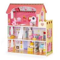 EcoToys játék babaház gyerekeknek, fából, 3 emelettel, 5 szoba RGB LED világítással, távirányítóval és 8 db bútorral, 60x79 cm