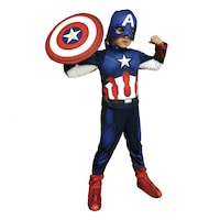 Детски карнавален костюм HuxyMascots Капитан Америка, размер 116