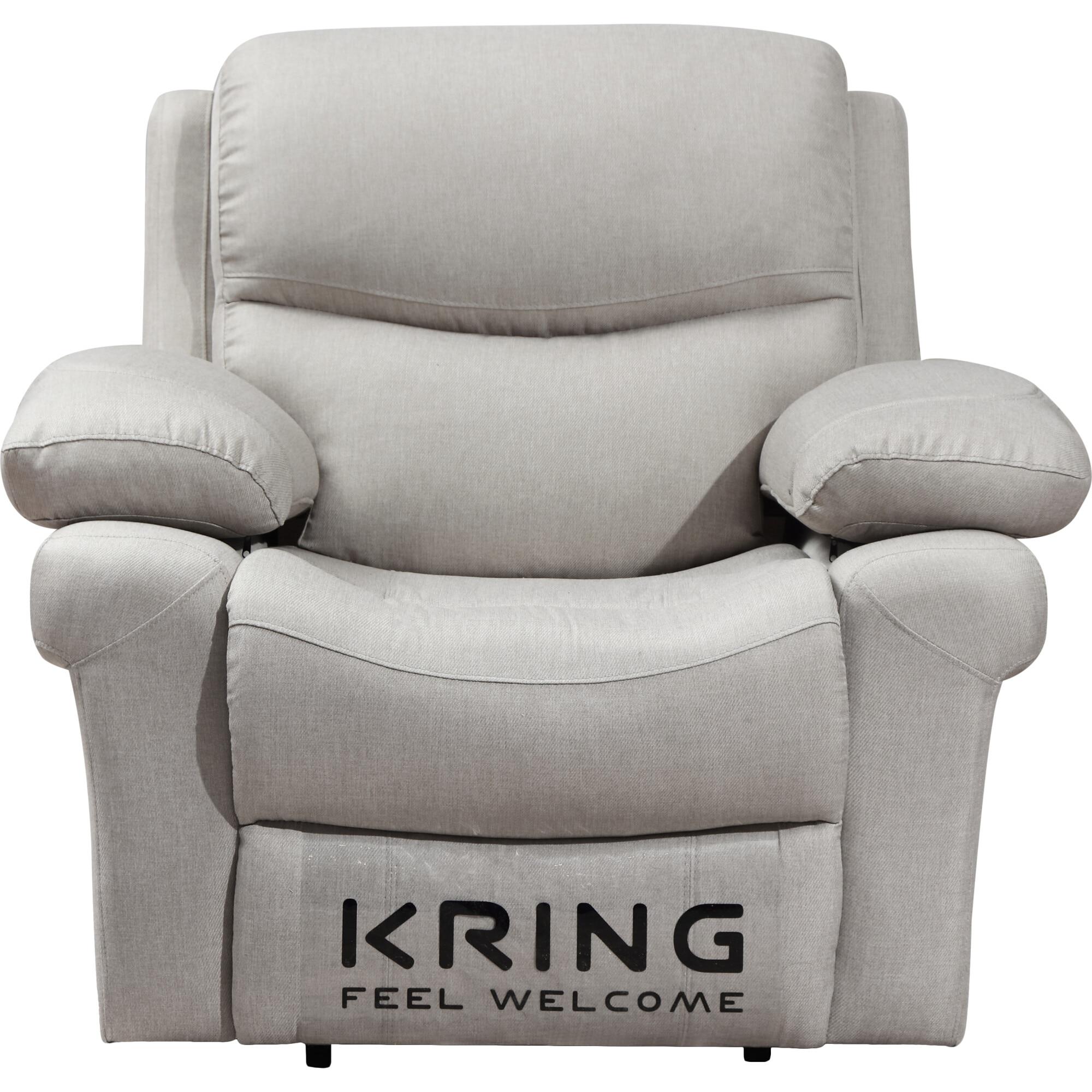 Fotografie Fotoliu Kring Armada, cu recliner si 3 trepte de confort, stofa, 107 x 98 x 100 cm, bej