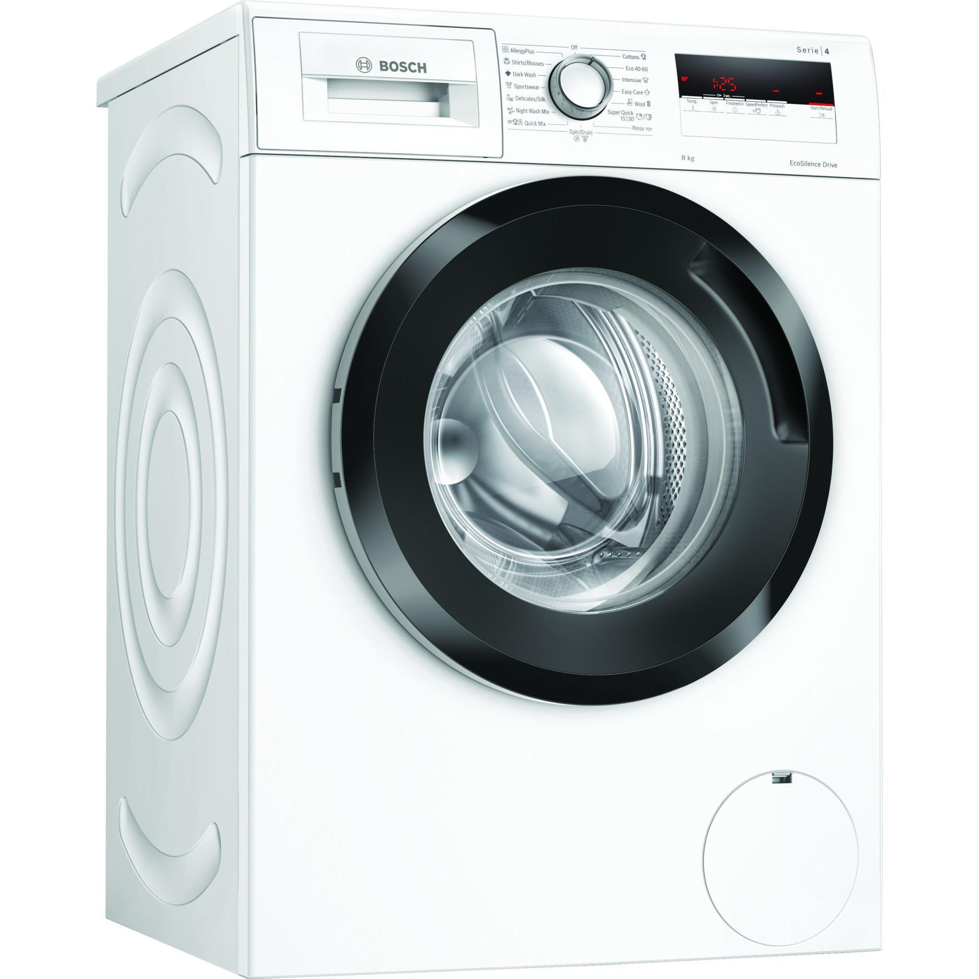 Fotografie Masina de spalat rufe Bosch WAN28160BY, 8 kg, 1400 RPM, Clasa A+++, EcoSilence Drive, Night Wash, Alb