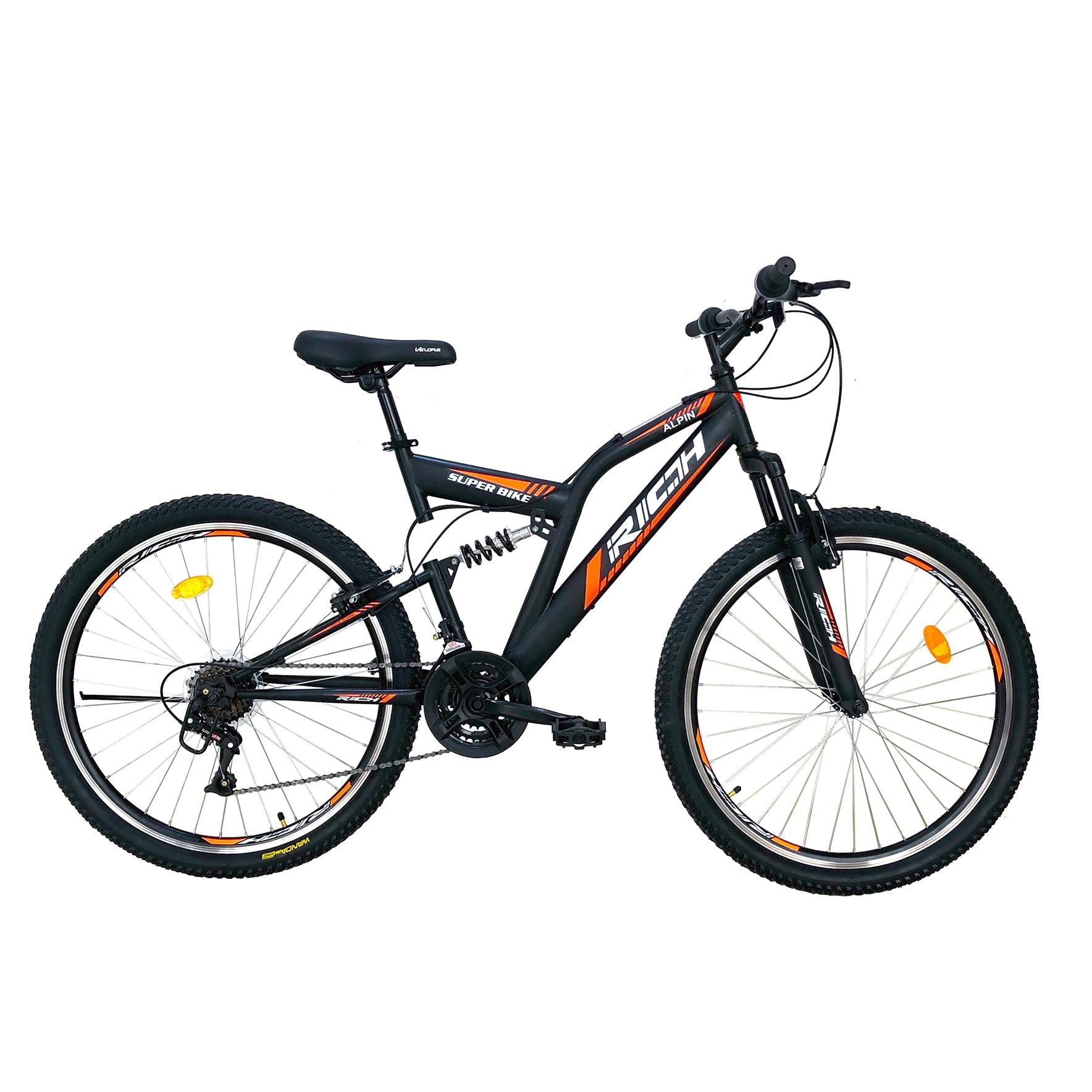 """Fotografie Bicicleta MTB Rich 26"""" R2649A FS, Negru/Portocaliu"""