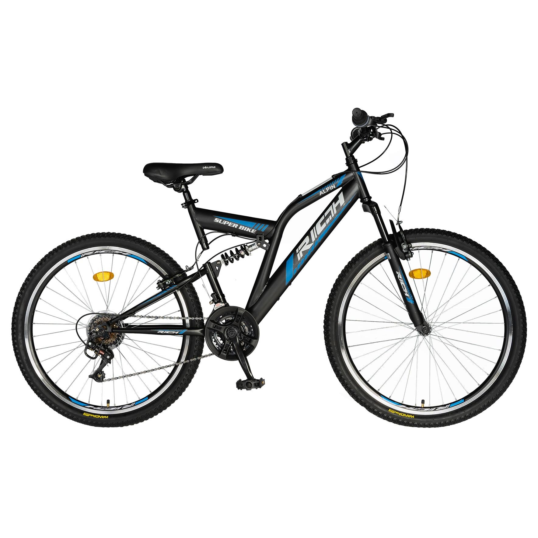 """Fotografie Bicicleta MTB Rich 24"""" R2449A pentru copii, FS, Negru/Albastru"""