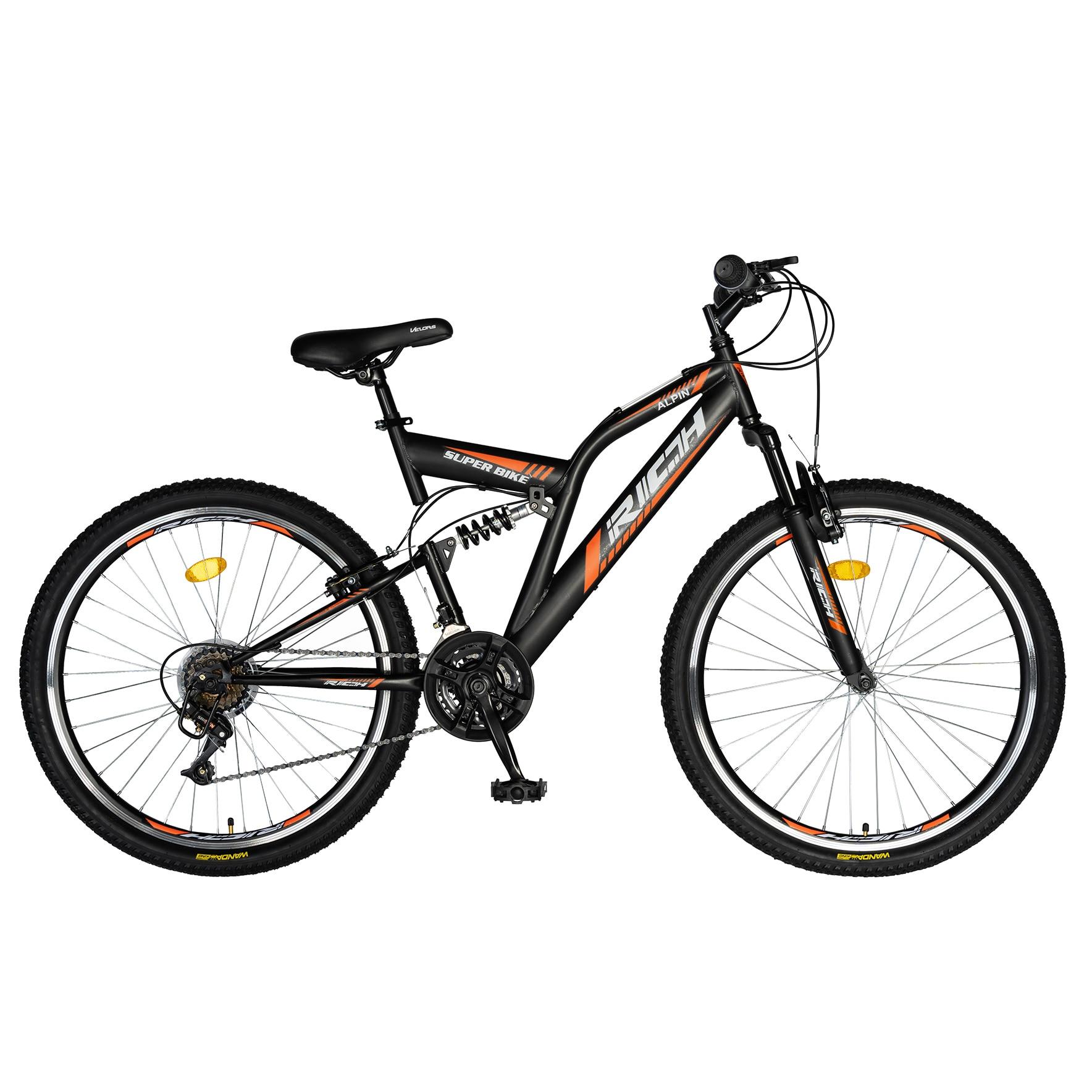 Fotografie Bicicleta MTB Rich Alpin R2449, suspensie fata/spate, roata 24 inch, frana tip V-Brake, 18 Viteze, Negru/Portocaliu