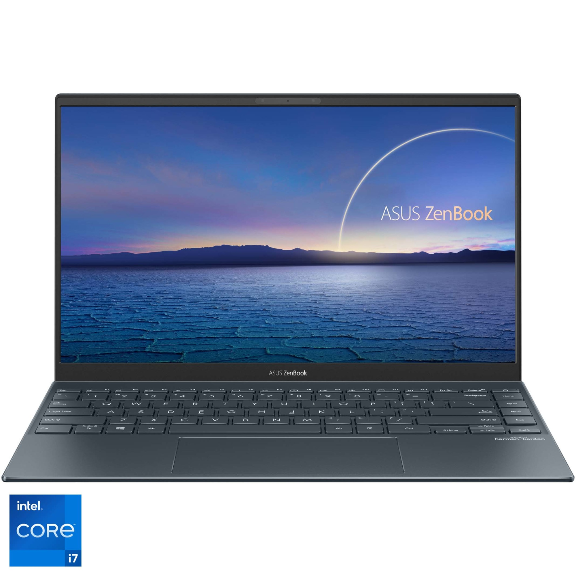 "Fotografie Laptop ultraportabil ASUS ZenBook 14 UX425EA cu procesor Intel® Core™ i7-1165G7 pana la 4.70 GHz, 14"", Full HD, 16GB, 1TB SSD, Intel Iris Xᵉ Graphics, Free DOS, Pine Grey"