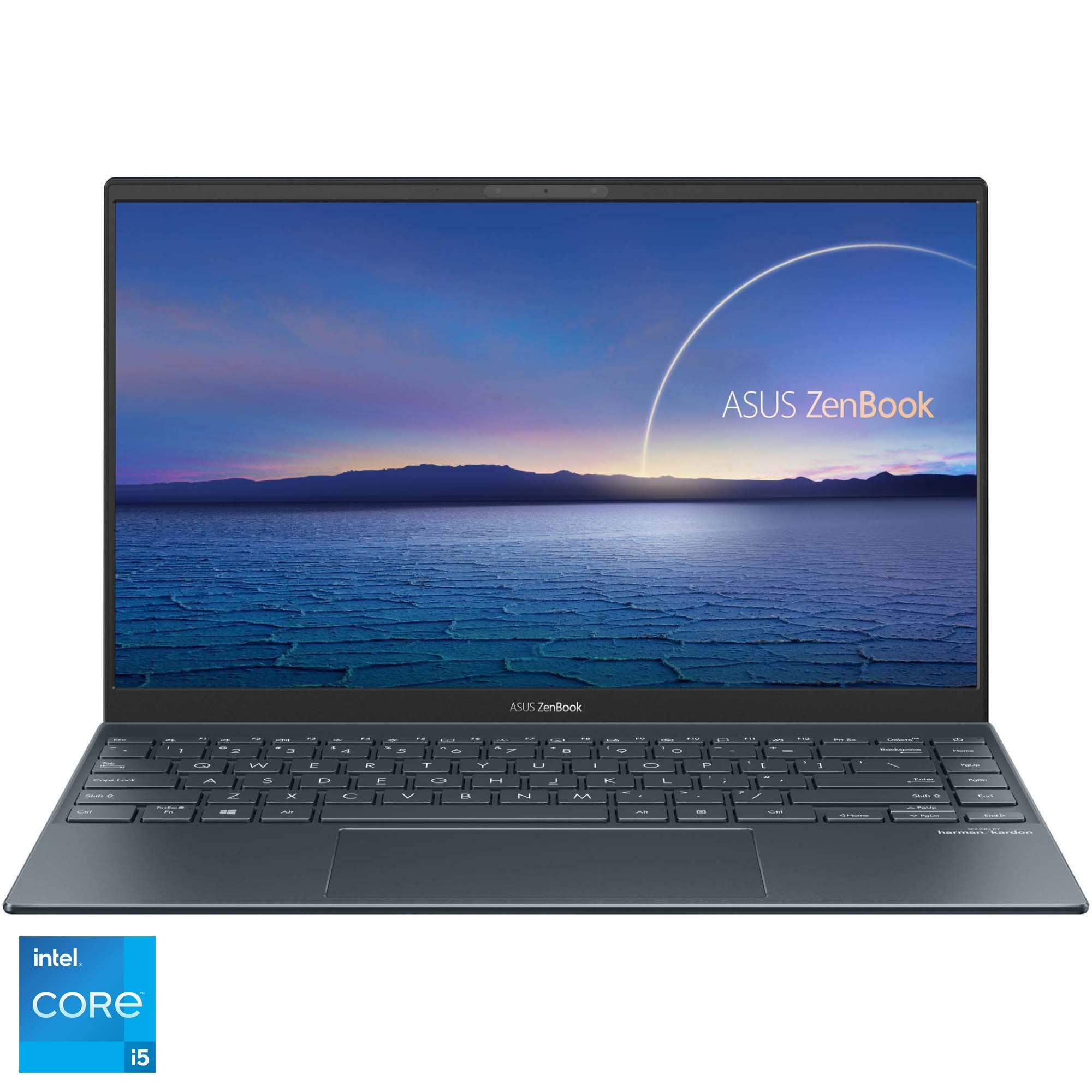 "Fotografie Laptop ultraportabil ASUS ZenBook 14 UX425EA cu procesor Intel® Core™ i5-1135G7 pana la 4.20 GHz, 14"", Full HD, 8GB, 512GB SSD, Intel Iris Xᵉ Graphics , Free DOS, Pine Grey"