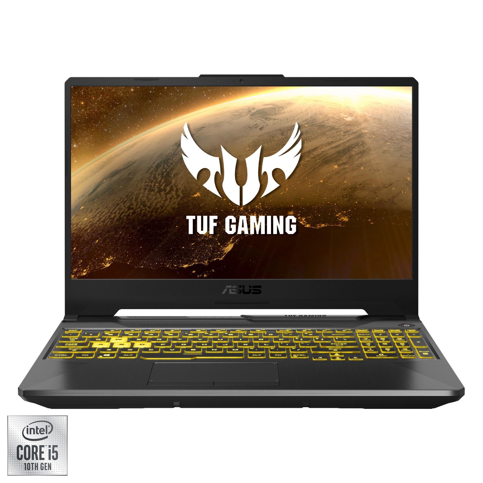 """Fotografie Laptop Gaming ASUS TUF F15 FX506LI cu procesor Intel® Core™ i5-10300H pana la 4.50 GHz, 15.6"""", Full HD, 144Hz, 8GB, 256GB SSD, NVIDIA® GeForce® GTX 1650 Ti 4GB, Free DOS, Fortress Gray"""