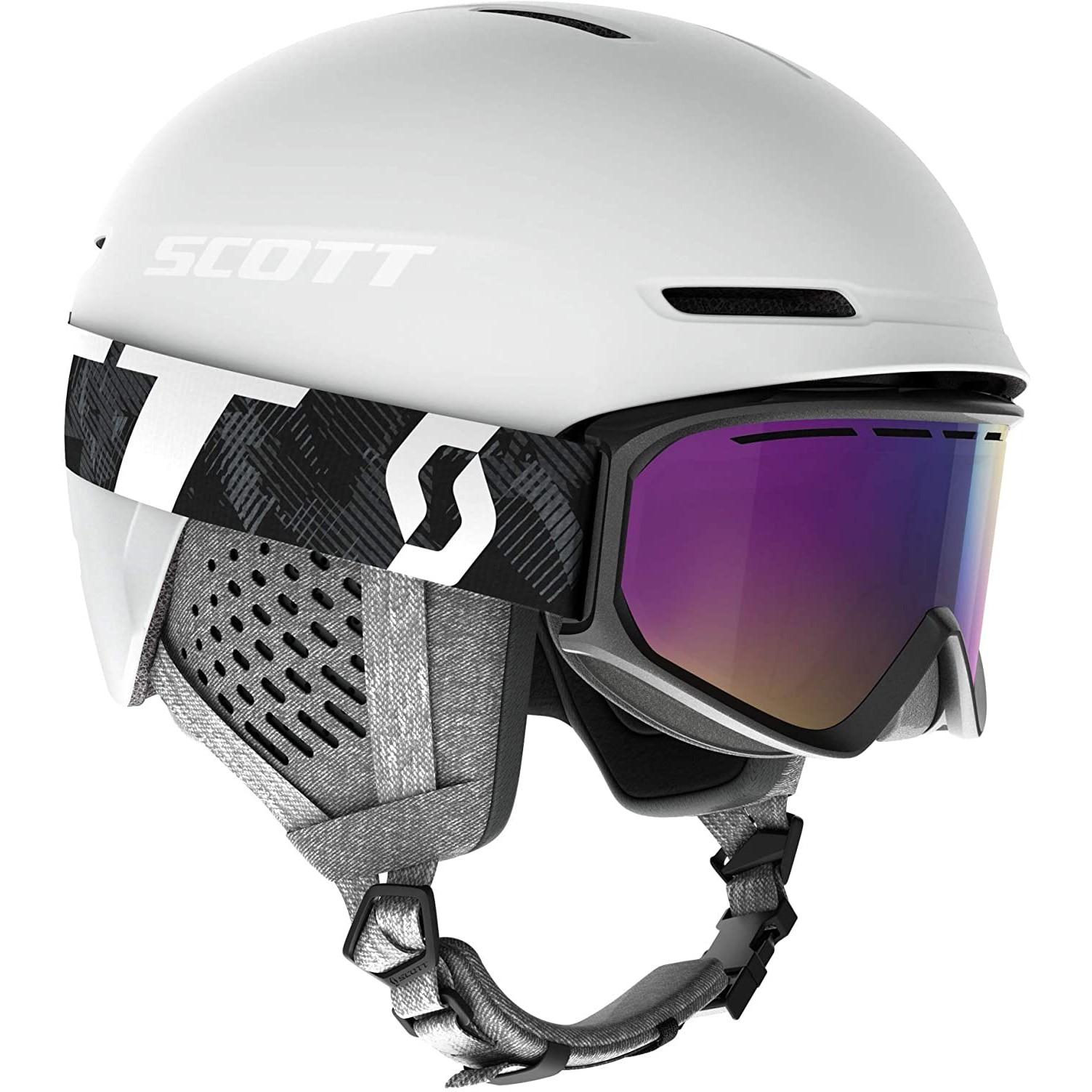 Fotografie Set schi Scott casca Track + ochelari Fact, Alb, S