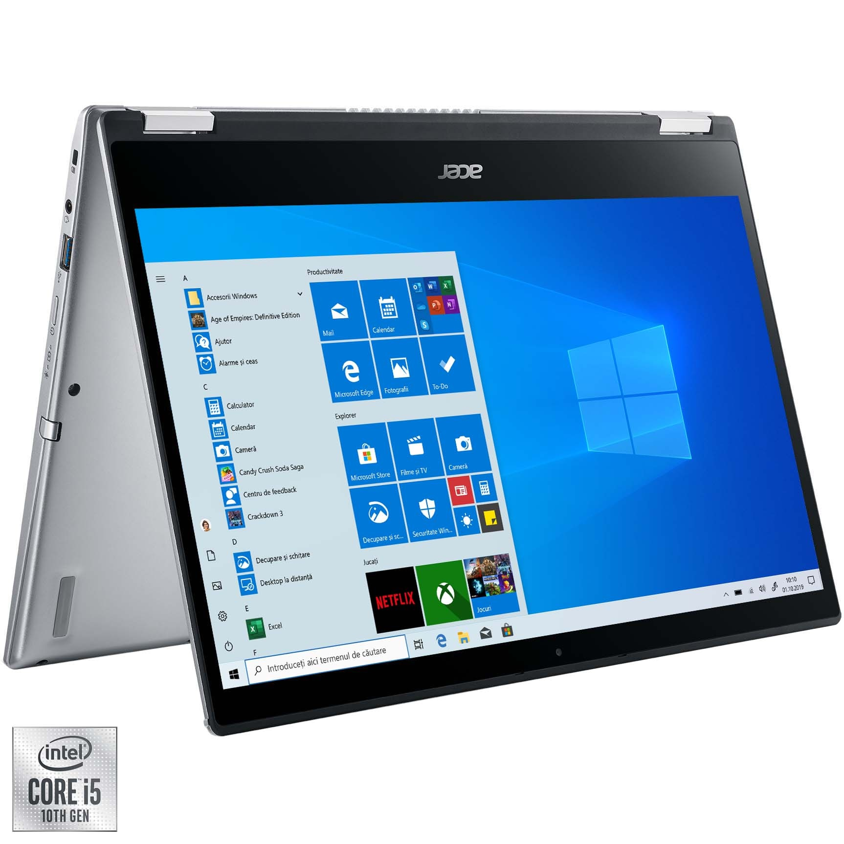 """Fotografie Laptop 2 in 1 Acer Spin 3 SP314-54N cu procesor Intel® Core™ i5-1035G1 pana la 3.60 GHz, 14"""", Full HD, Touch, 8GB, 512GB SSD, Intel UHD Graphics, Windows 10 Home, Silver"""