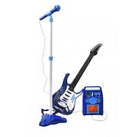 Rock'n'Roll Gitár Mikrofon+Állvány Erősítő Készlet Kék