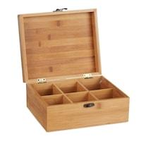 Кутия за чай с 6 отделения Relaxdays, Естествен бамбук