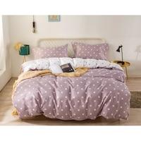 7mall-SENDIA® Kétoldalas csillagos 7 részes ágyneműhuzat garnitúra - pasztell lila