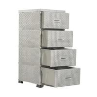 Kerekes tárolószekrény Komidin ™, Nova Home 4 tárolódoboz, Rattan, előcsarnokhoz, fürdőszobához és konyhához, méretei 91X45X38 cm, SZÜRKE