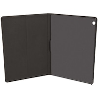Lenovo Tab M10 bőr hatású tablet tok (FLIP, oldalra nyíló, asztali tartó funkció + képernyővédő fólia, X605F/X605L), Fekete