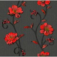 Tapéta DEGRETS 1260 Papír, Demi fekete-piros, Méret: 0.53m x 10.05m = 5.3 m2