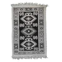 Szőtt szőnyeg Golden Daisy 80200A, 80 x 200 cm, fekete-fehér