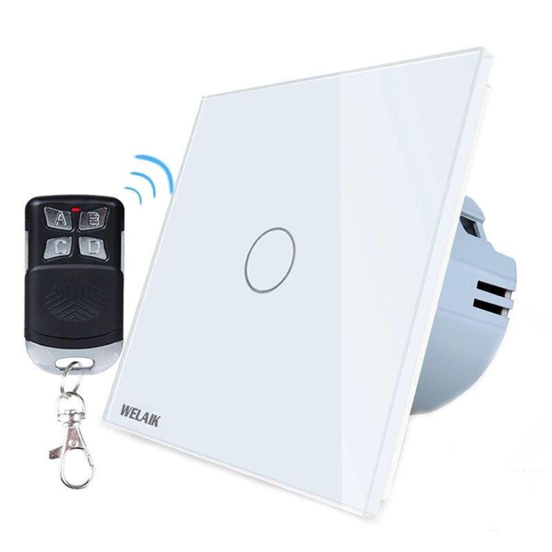 Fotografie Intrerupator simplu cu touch Welaik A1913CWR01, Wireless, telecomanda inclusa, panou din sticla, Alb