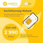 Netfone Lakossági SIM Kártya csomag, Korlátlan beszélgetés, 200MB Mobilinternet előfizetés