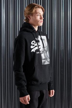 SUPERDRY, Pamuttartalmú kapucnis pulóver, Fekete/Fehér
