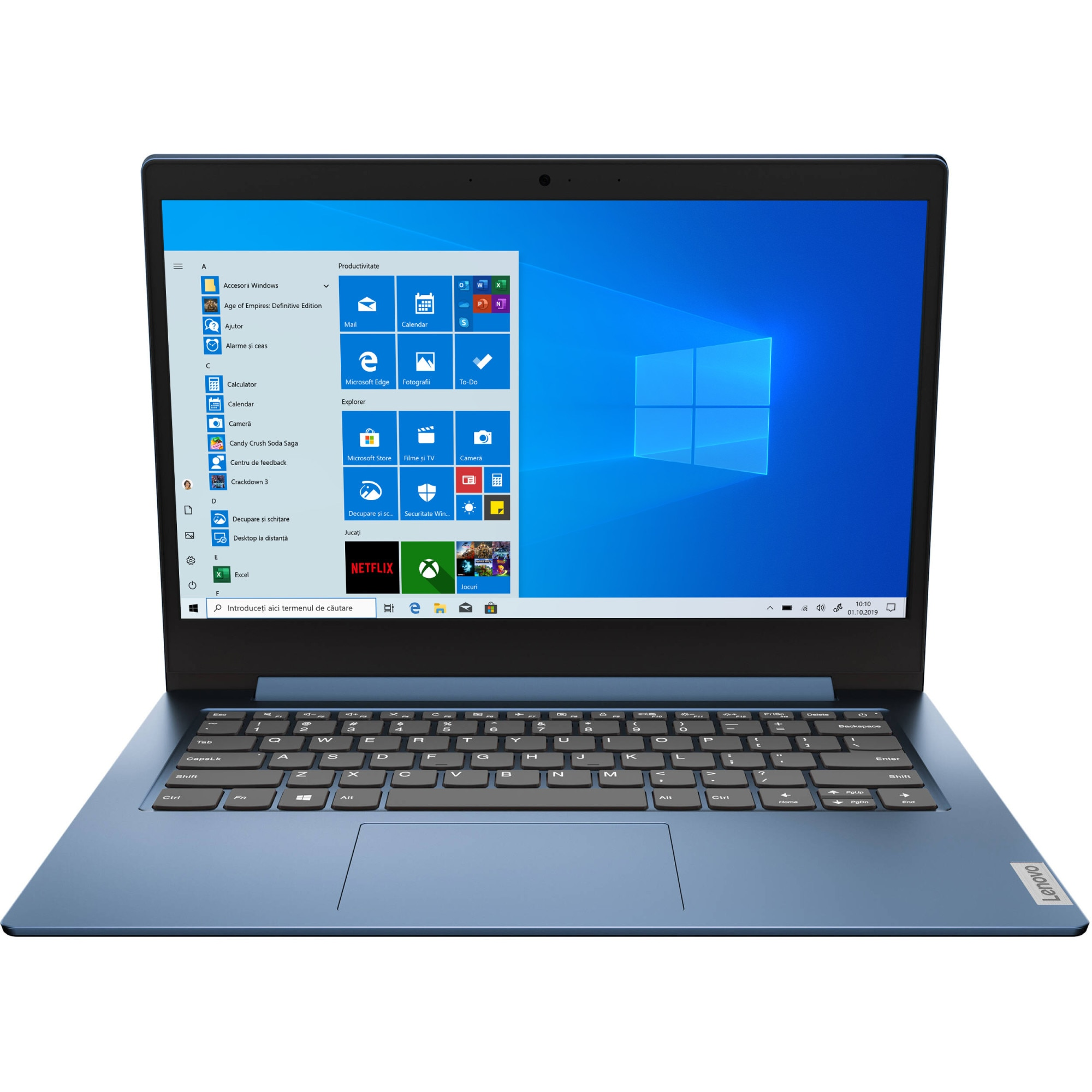 "Fotografie Laptop ultraportabil Lenovo Ideapad Slim 1-14AST-05 cu procesor AMD A4-9120e pana 2.20 GHz, 14"", Full HD, 4GB, 64GB eMMC, AMD Radeon R3 Graphics, Windows 10 Home S, Ice Blue"
