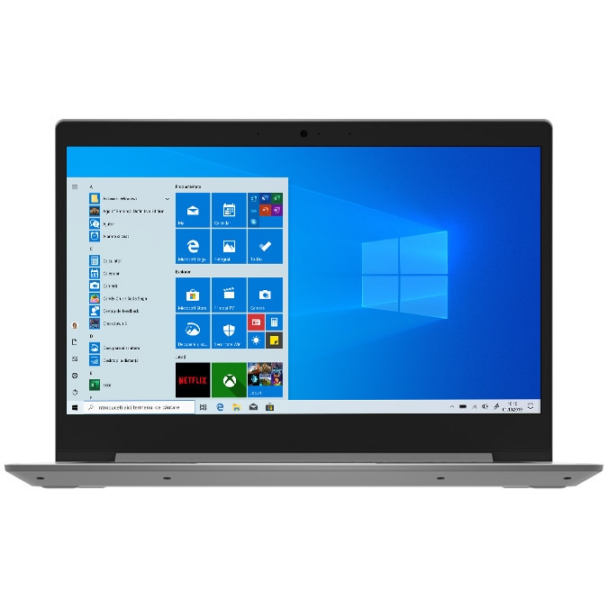 "Fotografie Laptop ultraportabil Lenovo Ideapad Slim 1-14AST-05 cu procesor AMD A4-9120e pana 2.20 GHz, 14"", Full HD, 4GB, 64GB eMMC, AMD Radeon R3 Graphics, Windows 10 Home S, Platinum Grey"