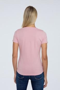 Pepe Jeans London, Virginia logós póló, Púder rózsaszín/Fehér