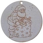 Комплект висулка Дядо Коледа с подаръци, Натурален, 7 x 7 см, 10 бр.