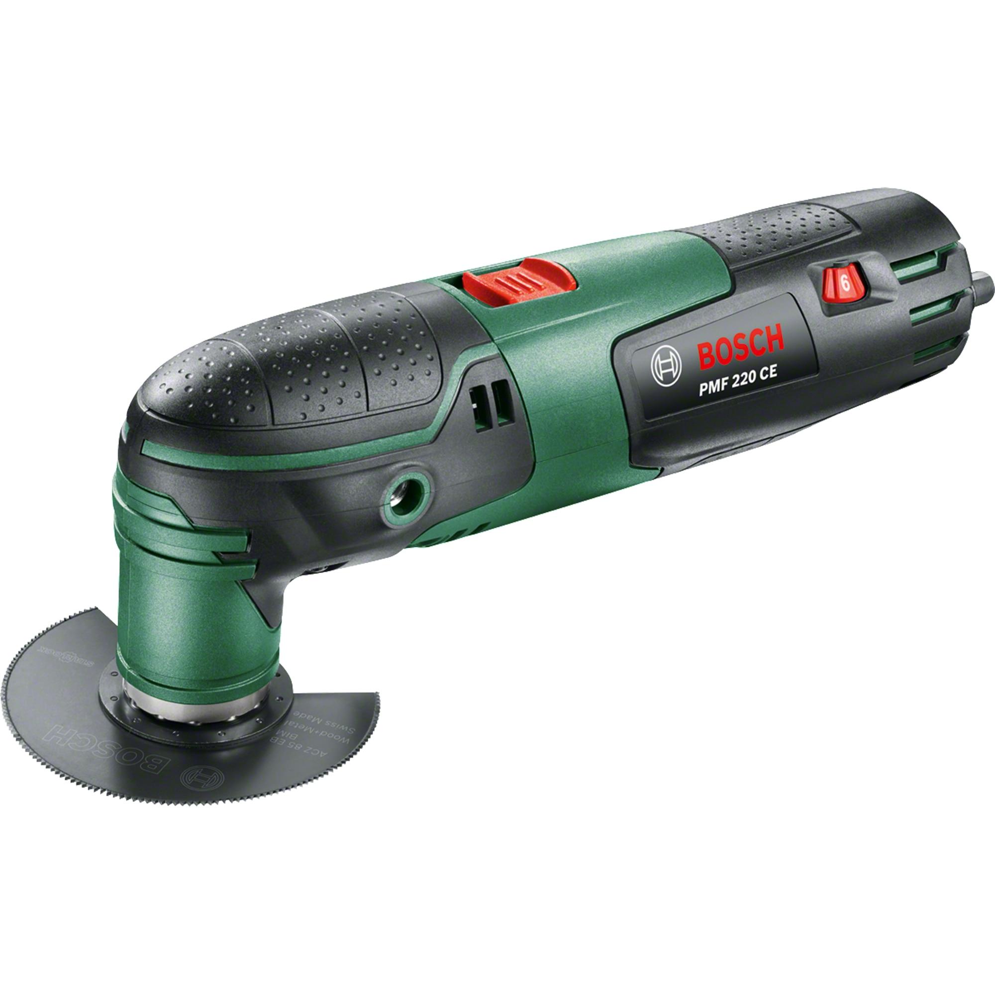 Fotografie Unealta multifunctionala Bosch PMF 220 CE, 220 W, 20000 RPM, sistem Starlock, 7 accesorii incluse