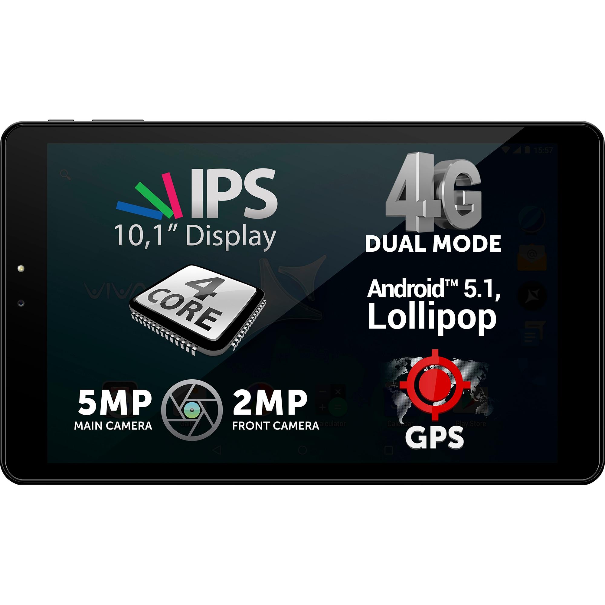 "Fotografie Tableta Allview Viva H1001, 10.1"", Quad Core 1Ghz, 1GB RAM, 8GB, 4G, IPS, Black"