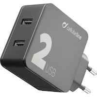 Cellularline ACHUSB224WK Hálózati töltő, 2 x USB, QC 3.0, 24W, Fekete