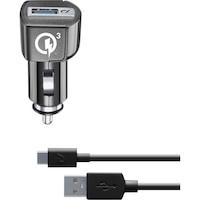 Cellularline CBRHUKITQCTYCK Autós töltő szett, Type-C kábel, QC 3.0, 18W, 1m, Fekete