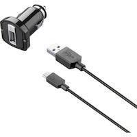 Cellularline CBRUSBCCMICROUSB Autós töltő szett, Micro USB kábel, 5W, 1m, Fekete