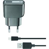 Cellularline ACHUSBKITMICROUSB2 Hálózati töltő, Micro USB, 5W, 1m, Fekete
