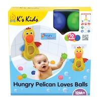 Ks Kids 3107290 Éhes Pelikán feltapasztható tartóka, 10 színes labdával - Ks Kids