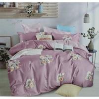 7mall-SENDIA® Kétoldalas rózsa mintás/ csíkos 3 részes ágyneműhuzat - pasztell lilás rózsaszín