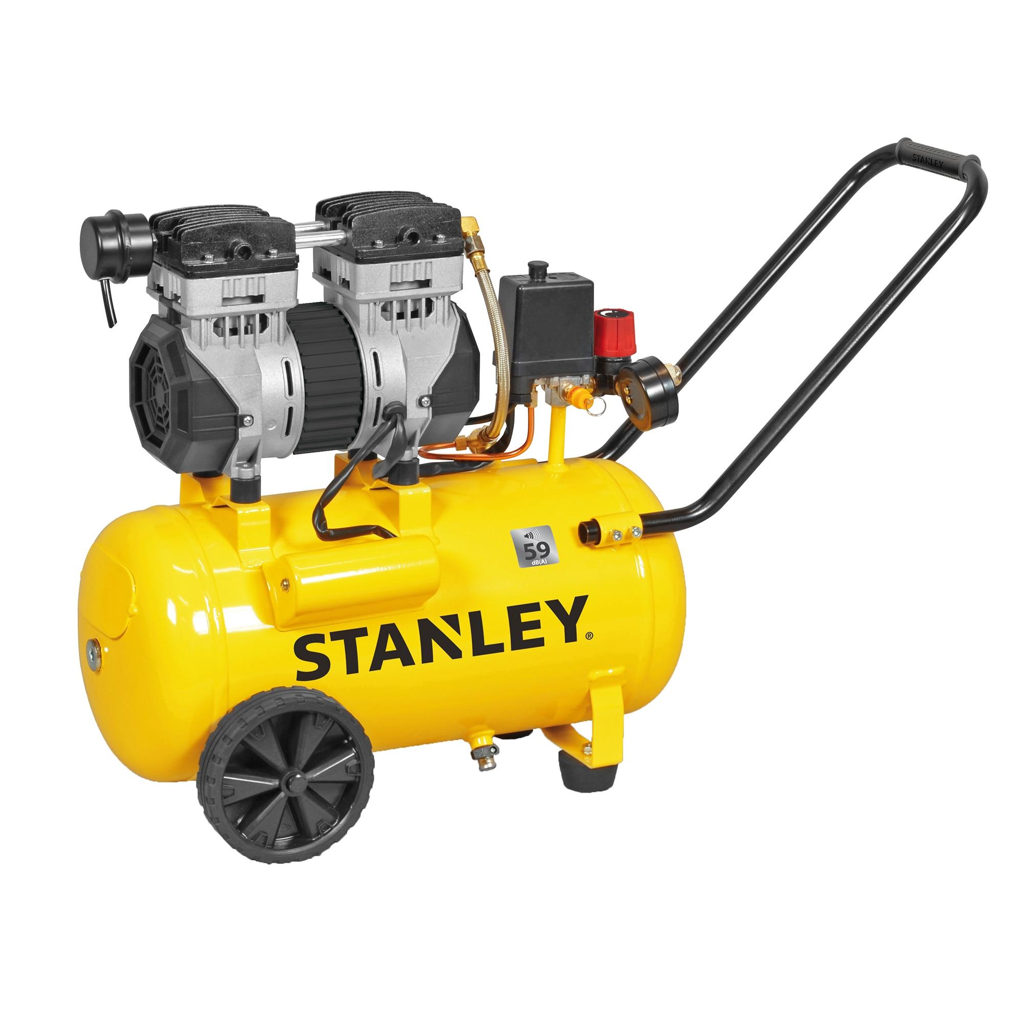 Fotografie Compresor Stanley SILTEK SXCMS1324HE, 1.3 CP, 230 V, 2 cilindrii, 24 l capacitate vas expansiune, 150 l/min debit aer