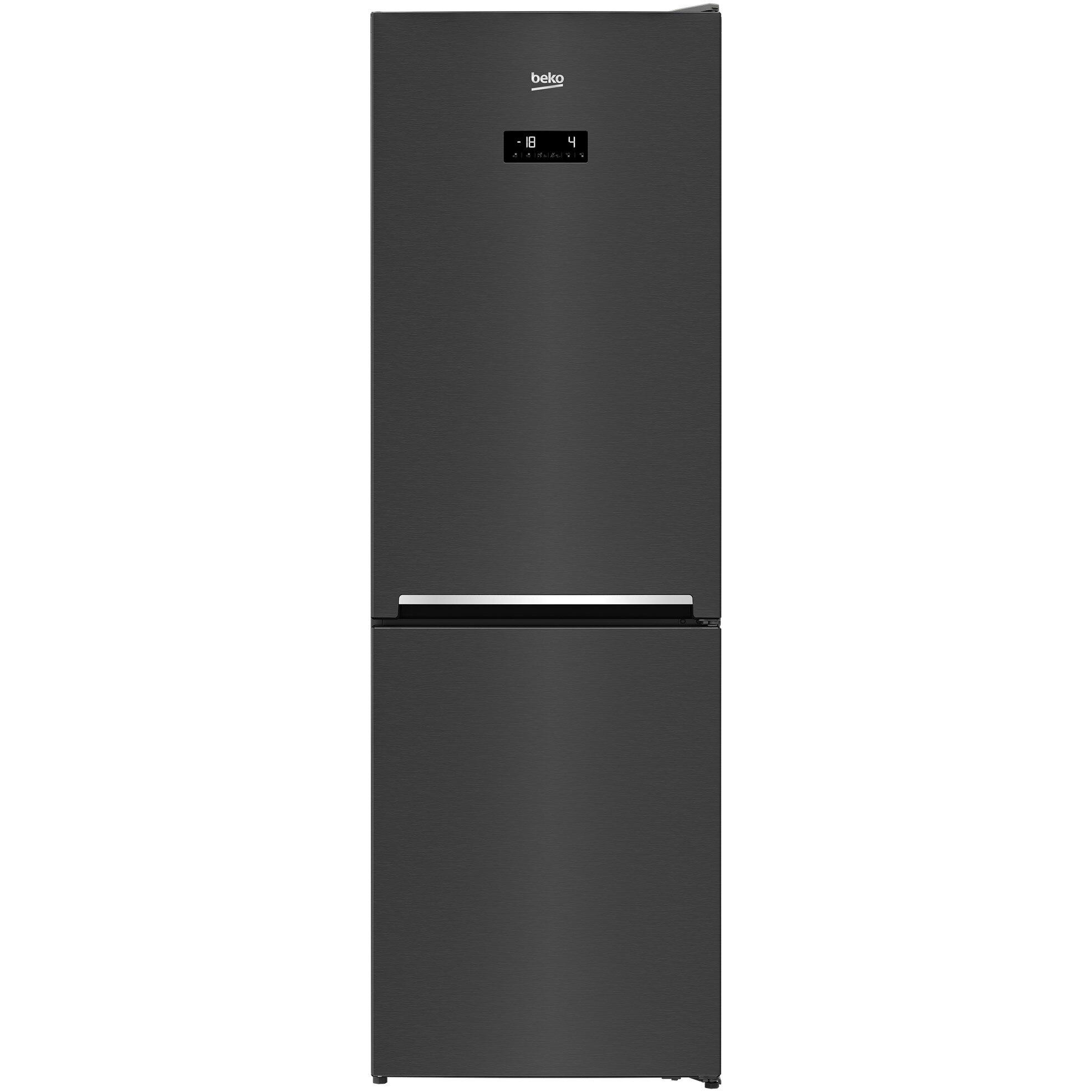 Fotografie Combina frigorifica Beko RCNA366E40ZXBRN, 324 l, Clasa E, NeoFrost, Compartiment 0°C, Kitchen Fit, Everfresh+ , 185.2 cm, Dark Inox