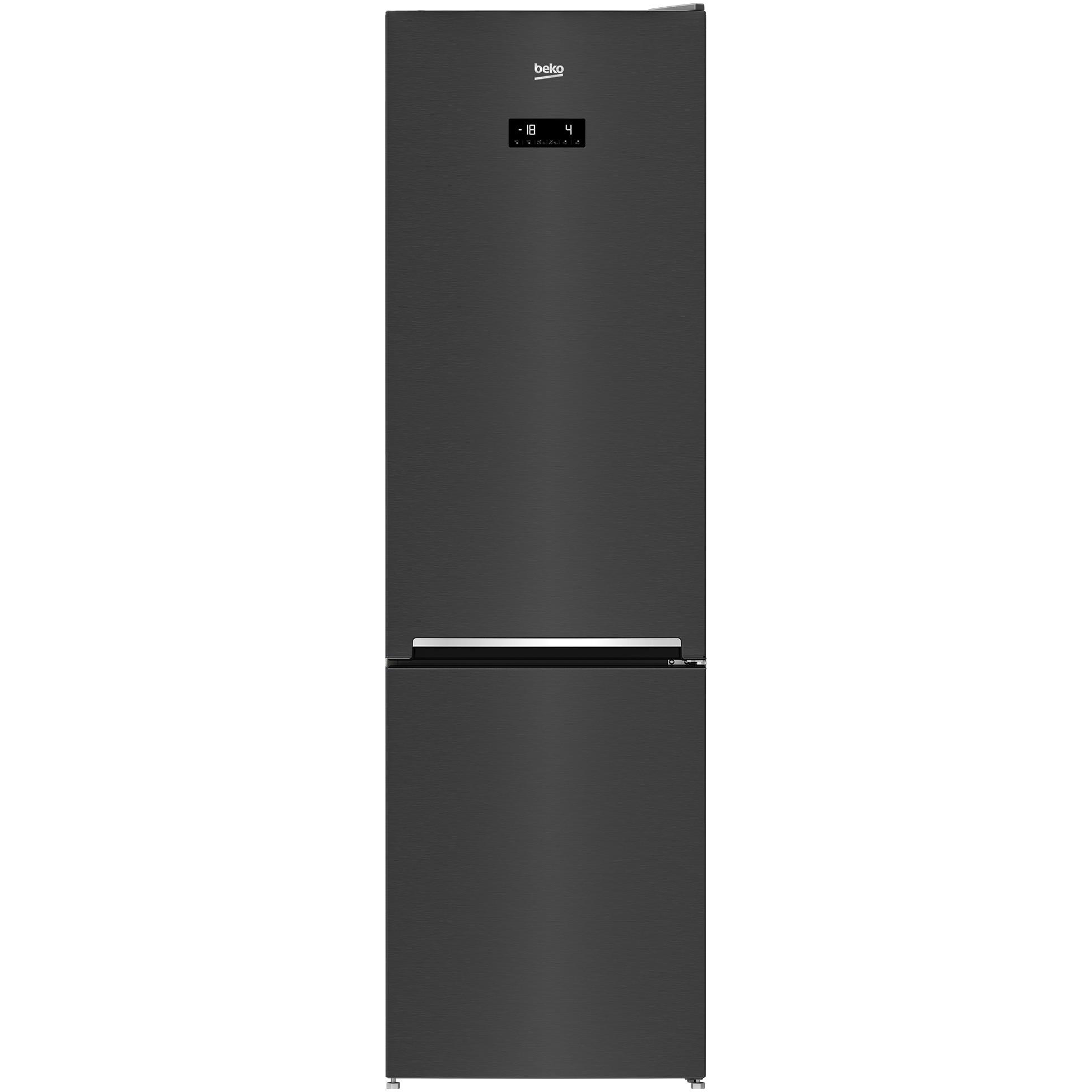 Fotografie Combina frigorifica Beko RCNA406E40ZXBRN, HarvestFresh™, NeoFrost™ Dual Cooling, 362 L, Compartiment 0°C, Suport sticle, Clasa E, H 203 cm, Dark Inox