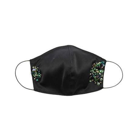 Masca dama protectie faciala din bumbac satinat, fashion, reutilizabila, cu strasuri verzi