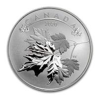 Сребърна монета Royal Canadian mint Кленов лист 2020, 1/2 Oz