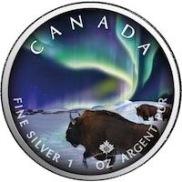 Сребърна монета Royal Canadian mint Кленов лист, Бик и северно сияние, 1 Oz