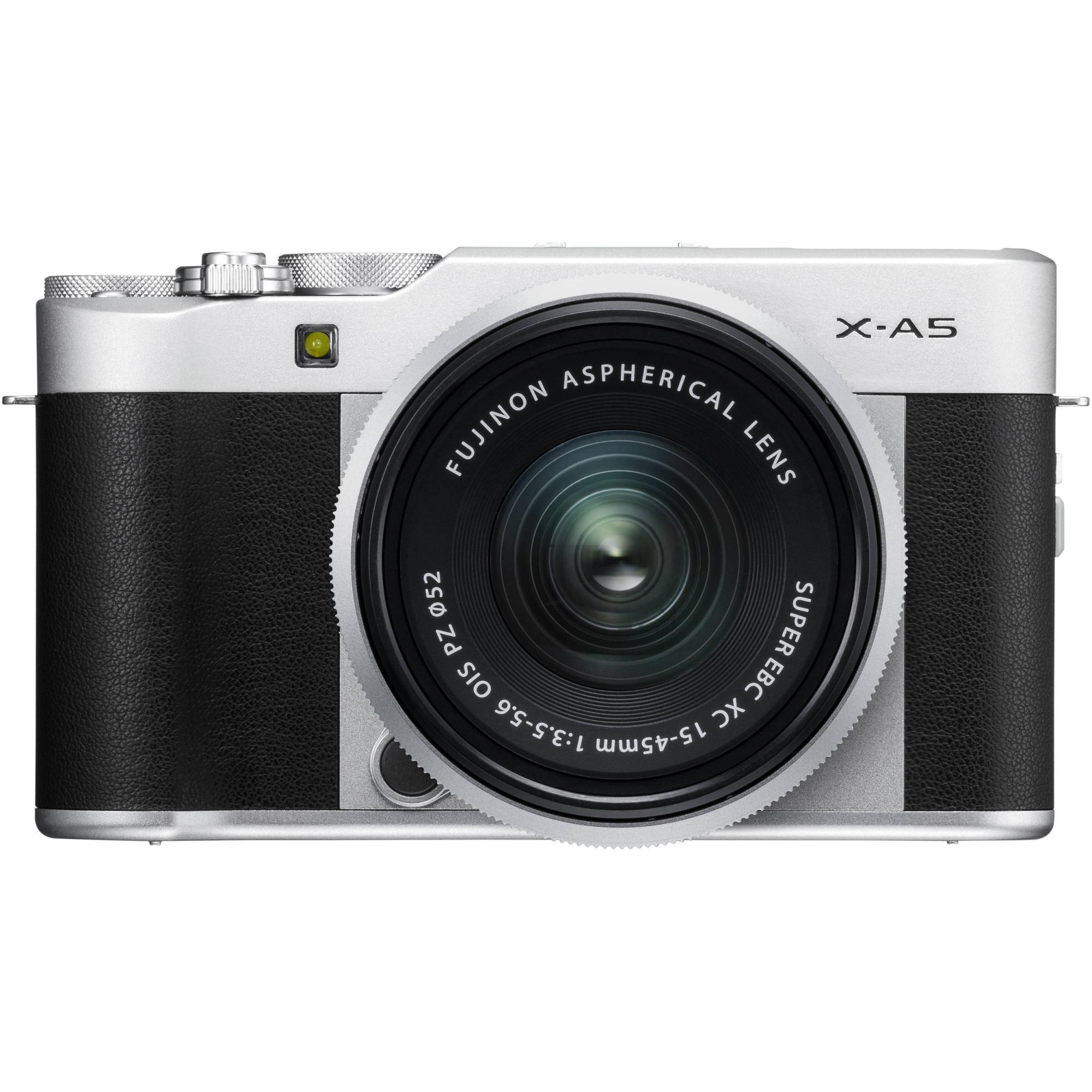 Fotografie Aparat foto Mirrorless Fujifilm X-A5, 24.2 MP, Argintiu + Obiectiv XC 15-45 mm