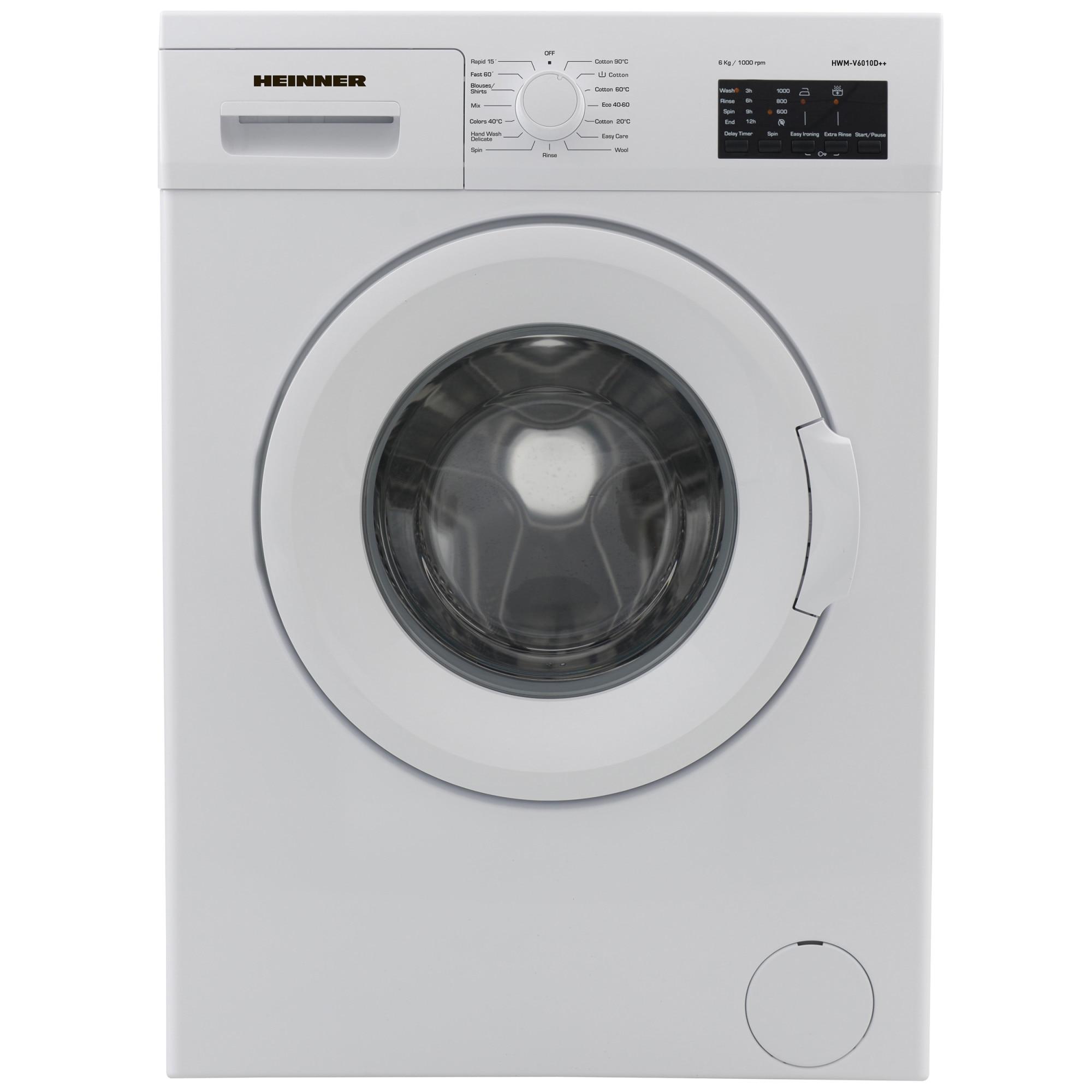 Fotografie Masina de spalat Heinner HWM-V6010D++, 6 kg, 1000 RPM, Clasa D, Display LED, 60 cm, Alb