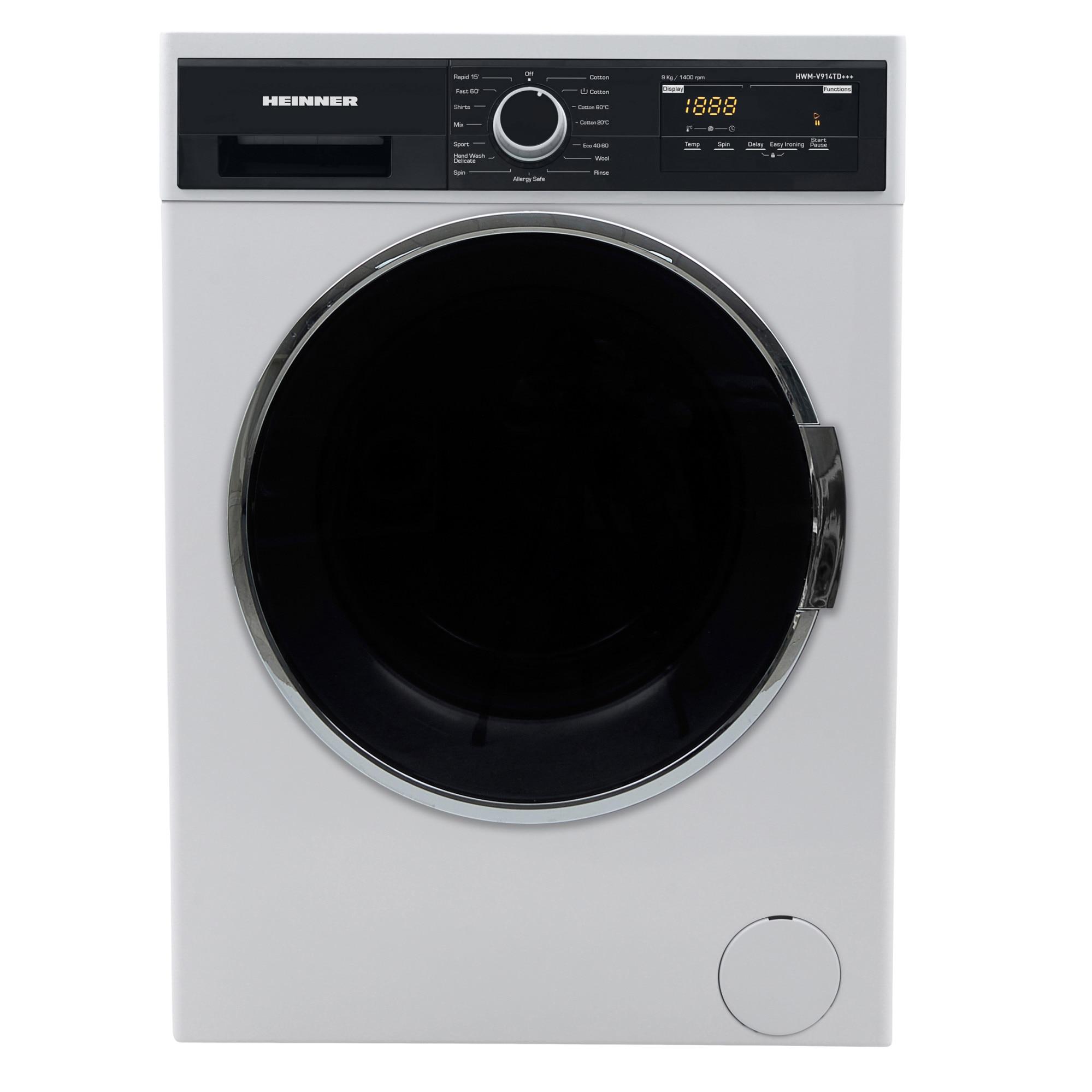 Fotografie Masina de spalat Heinner HWM-V914TD+++, 9 kg, 1400 RPM, Clasa A+++, Display LED, Control Touch 60 cm, Alb