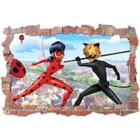 3D Dekorációs falmatrica, Miraculous Ladybug & Cat Noir, 60x90cm