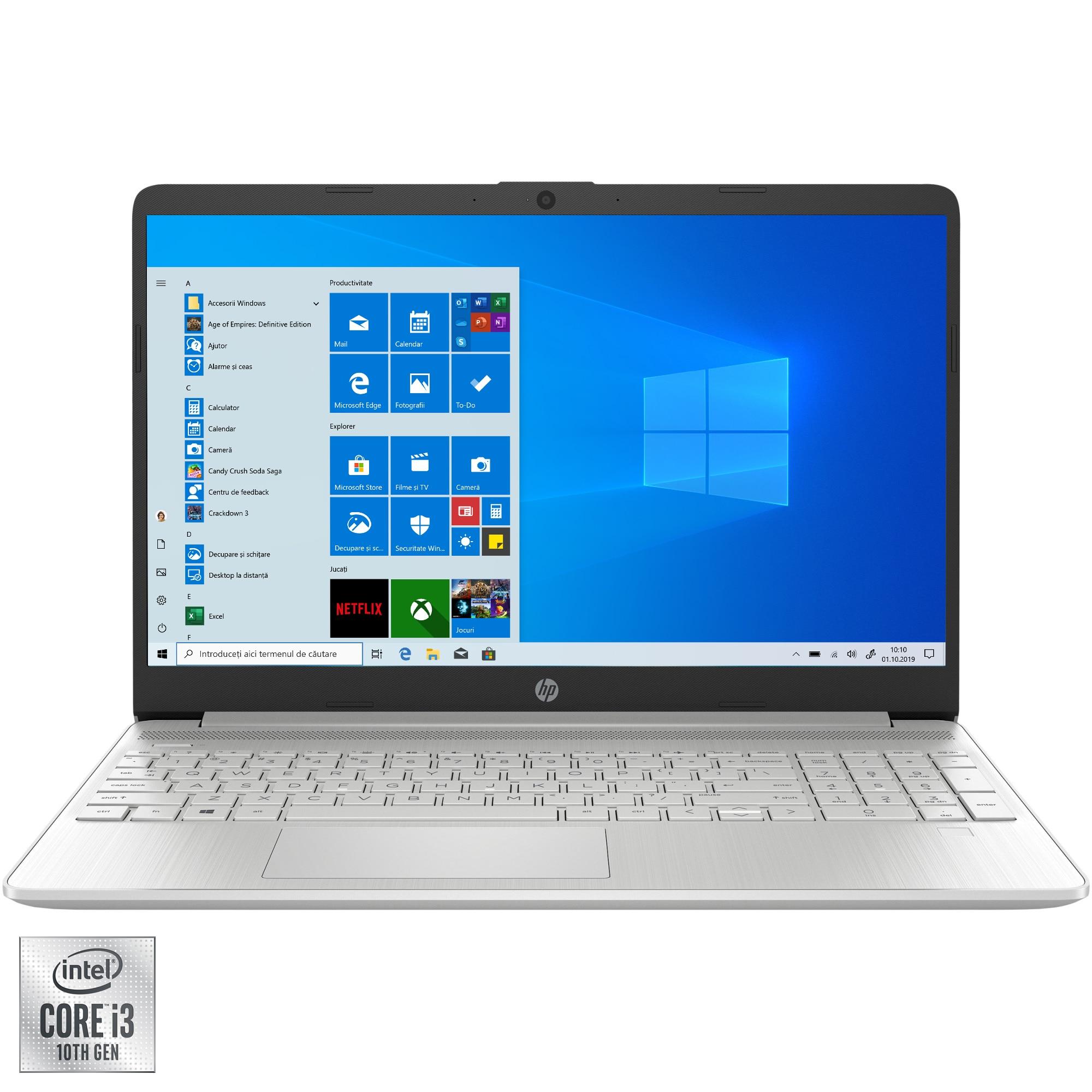 "Fotografie Laptop HP 15s-fq1008nd cu procesor Intel® Core™ i3-1005G1 pana la 3.40 GHz, 15.6"", Full HD, 4GB, 128GB SSD, Intel UHD Graphics, Windows 10 Home S, Silver"