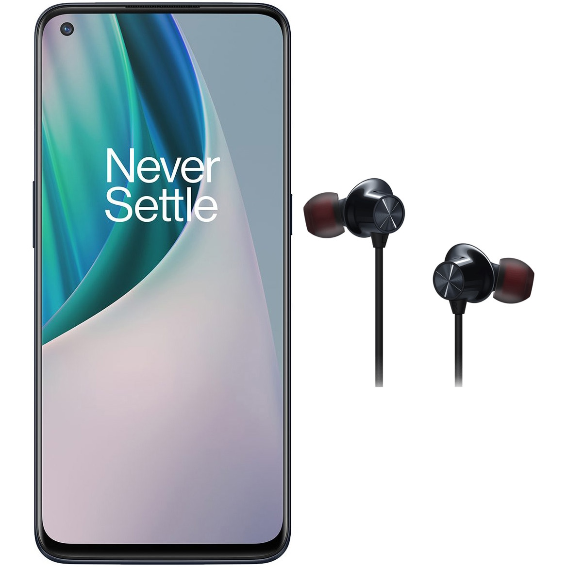 Fotografie Telefon mobil OnePlus Nord N10, Dual SIM, 128GB, 6GB RAM, 5G, Midnight Ice​ + Bullets Wireless Z Black
