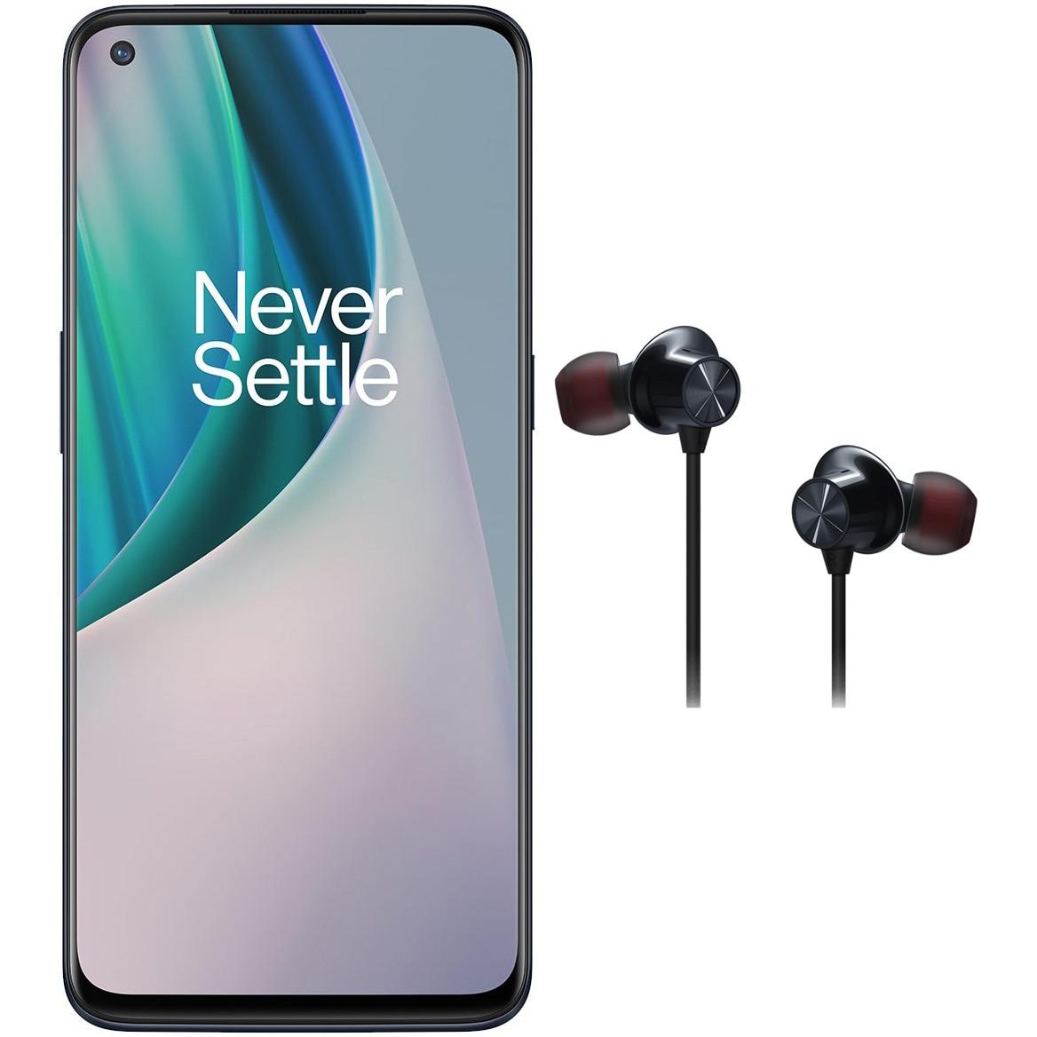 Fotografie Telefon mobil OnePlus Nord N10, Dual SIM, 128GB, 6GB RAM, 5G, Midnight Ice + Bullets Wireless Z Black